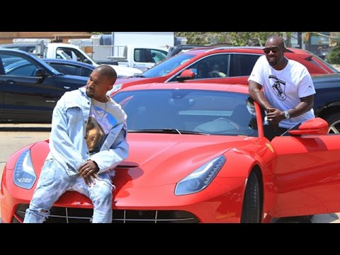 Kanye West Showing Off New Red Ferrari With Corey Gamble