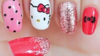 Hello Kitty Inspired Nail Tutorial (Konad Stamping) - YouTube