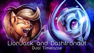 LionJack and Dashtronaut (Dual pony art timelapse)