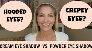 I'll let you be the judge.  What looks better on Hooded Eyes and Crepey skin...cream eye shadow or powder eye shadow?Product highlighted in this video:Revlon Illuminance Creme Shadow - Not Just Nudes:http://amzn.to/2r3XXguOther Matte Cream Based Eyeshadows that I like:Revlon Color Stay 720 Chocolate Single:http://amzn.to/2q8Rgu0Maybelline 24 Hr Tattoo Leather - Creamy Beige:http://amzn.to/2qvQwCc_________________________________________________________________Makeup used on the rest of my face:Garnier Anti-Dark Circle Roller:http://amzn.to/2mhsKZ9Maybelline® Instant Age Rewind® Eraser Dark Circles Concealer:http://amzn.to/2j6FLj7Elf Setting Powder:http://amzn.to/2isgGhzMaybelline Dream Velvet Foundation (Natural Beige):http://amzn.to/2nAmImKRevlon Color Stay Powder:http://amzn.to/2mhwPMWLoreal Infallible eye liner - Black Brown:http://amzn.to/2mhzlCMMilani Brow Fix (Medium):http://amzn.to/2mhqf9aNYX Lipliner - Mauve:http://amzn.to/2jrprfZRimmel Moisture Renew Lipstick (First Class Nude):http://amzn.to/2naHQP8My Skincare Favorites:• Donell AHA 20 Body Tingle:  http://amzn.to/2oK6xzW• Sanitas *Level 3* Retinol Peeling Cream: (If you decide to purchase this product make sure you look for a discount or promotion code, Brianna Stanko Is often running specials, I got mine for 20% off):  http://amzn.to/2m2WmYy• Derma e Anti-Wrinkle Vitamin A Glycolic Toner: http://amzn.to/2hFjQ5o• Derma e Microdermabrasion Scrub with Dead Sea Salt: http://amzn.to/2m2WmYy• CeraVe Renewing SA Cleanser:  http://amzn.to/2itBUz4• CeraVe Renewing SA Lotion: http://amzn.to/2hFizer• Sunforgettable SPF 50 Mineral Powder:  http://amzn.to/2dqTDRj  (Don't forget to choose a shade)• Coffee Bean Caffeine Eye Cream: http://amzn.to/2ao6nWV• Retin-A .1%  (Prescription)• Hydroquinone 4%  (Prescription)Equipment that I use:Ringlight:http://bit.ly/2atB8h8Box Lights:http://bit.ly/2h74ceYCamera:  http://bit.ly/1PkgOsISUBSCRIBE HERE: https://www.youtube.com/c/jeniferjenkinsbeauty?sub_confirmation=1YtCHANNEL: htt
