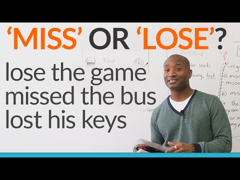 Lose - http://www.engvid.com/ Do you know the difference between 'miss' and 'lose'? These two words are very similar, but we use them differently in English. Do you say 'I lost the bus' or 'I missed...