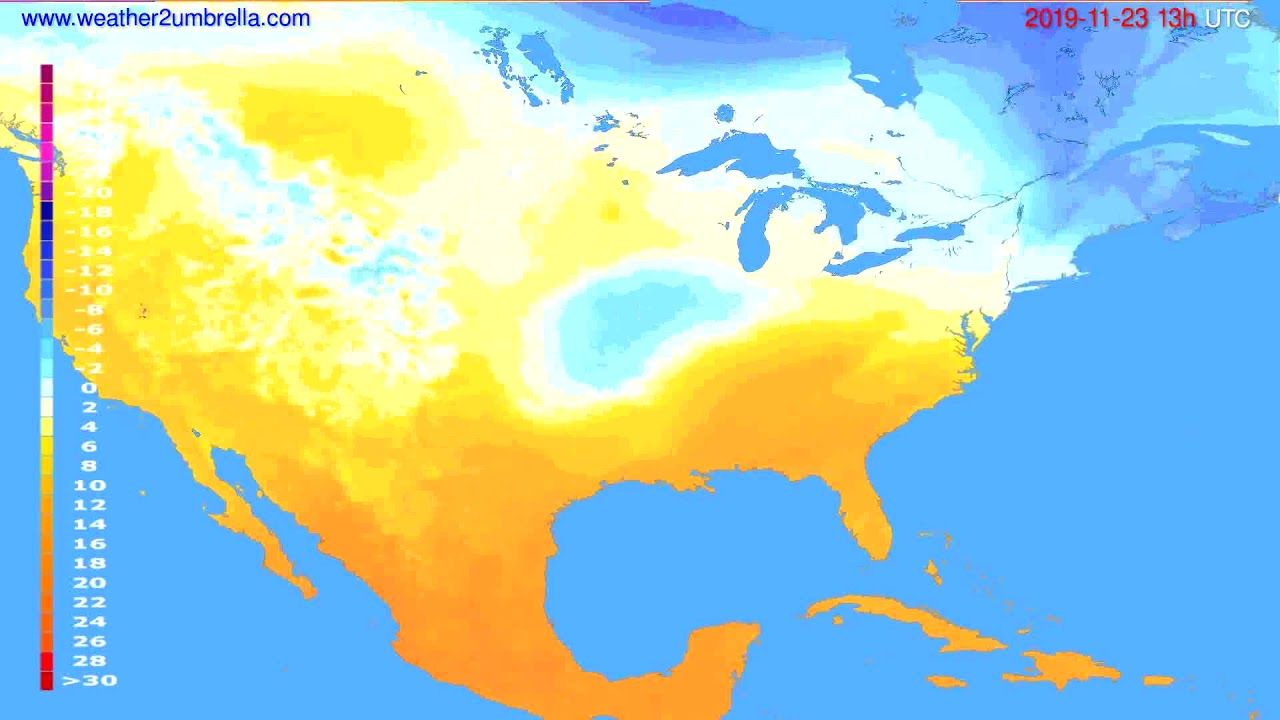 Temperature forecast USA & Canada // modelrun: 12h UTC 2019-11-21