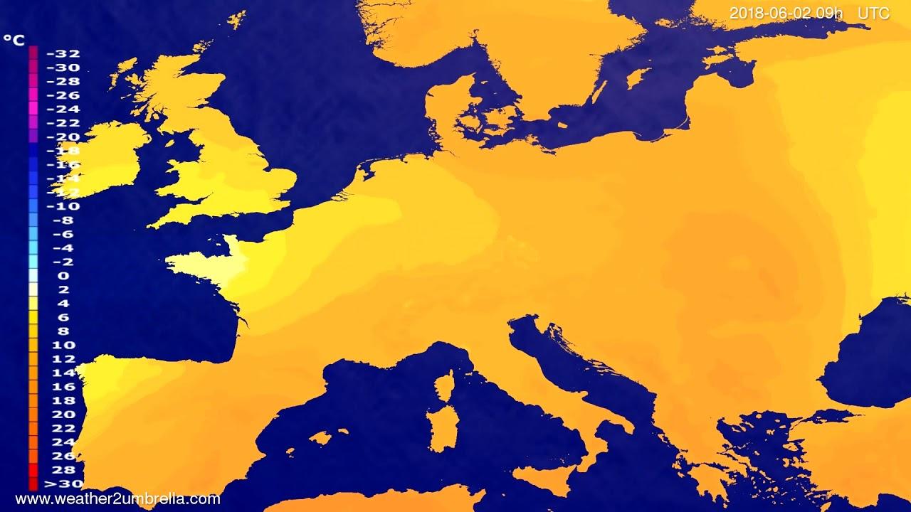 Temperature forecast Europe 2018-05-29