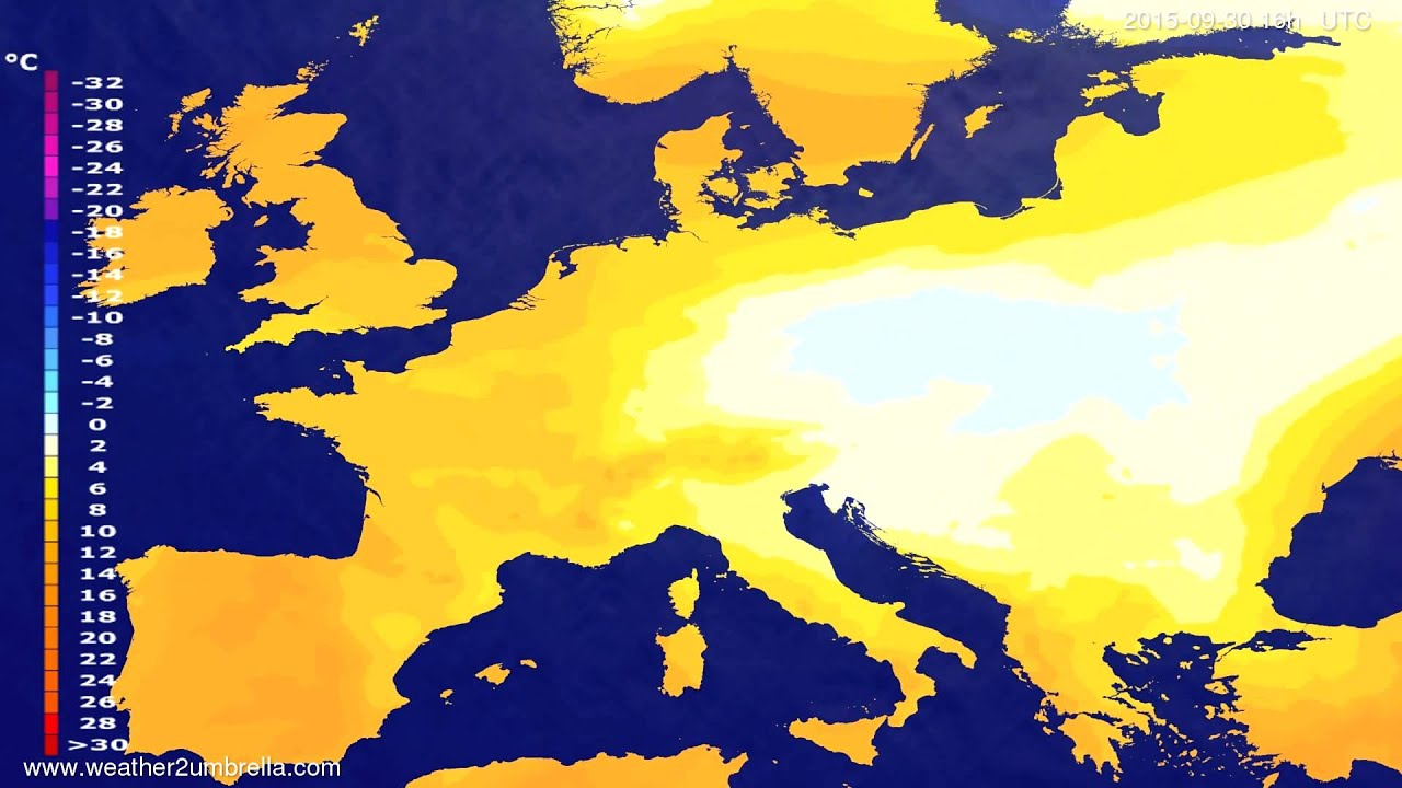 Temperature forecast Europe 2015-09-28