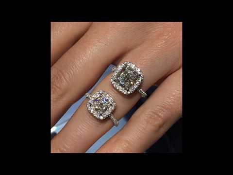 Lauren B Cushion Cut Halo Engagement Rings