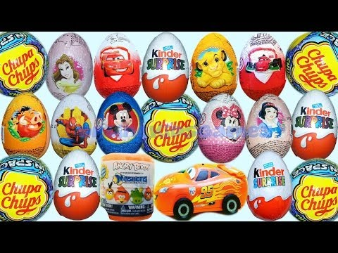 minnie - 13 Surprise Eggs + 4 Chupa Chups + 9 Kinder Surprise eggs: MAXI Cars 2 surprise egg, Mickey Mouse clubhouse Surprise egg, Spiderman Surprise egg, Donald Duck...