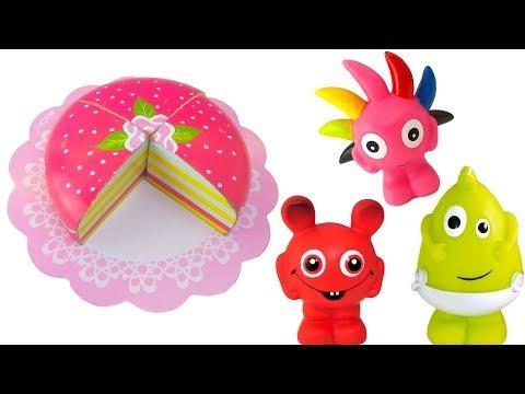 Babblarna bakar en rolig tårta med fruktleksaker och Play Doh lera - Lek och lär med Babblarna