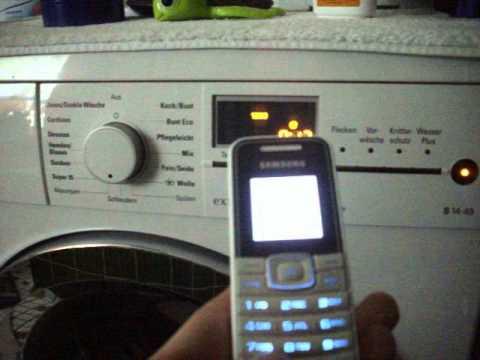 Ausschalten einer Siemens Waschmaschine mit Samsung Handy.