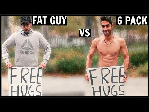 FAT GUY Vs 6 PACK Getting Free Hugs (SOCIAL EXPERIMENT)