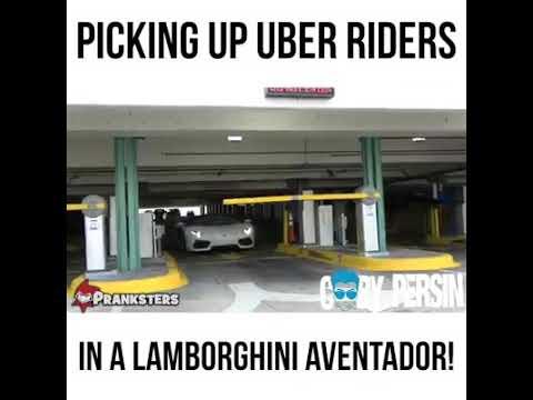 Picking Up uber riders in a lamborghini aventador.