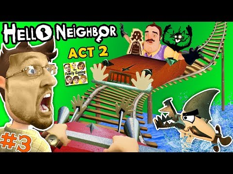 ESCAPE HELLO NEIGHBOR PRISON: FGTEEV ACT 2 - Roller Coaster, Shark & Doll House (Full Game Part 3) (видео)