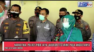 Perangi Narkotika, Polres Pidie Jaya Lakukan Tes Urine Pada Anggotanya