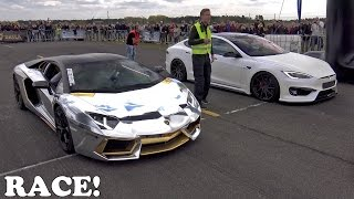 Video Lamborghini Aventador vs Prior Design Tesla PD-S1000 Model S MP3, 3GP, MP4, WEBM, AVI, FLV Januari 2018