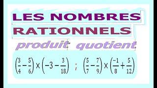 Maths 4ème - Les nombres rationnels Produit et Quotient Exercice 20