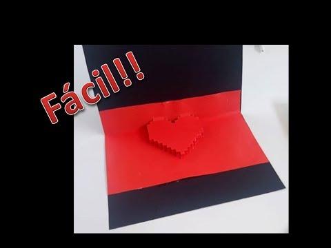 Como hacer tarjeta para San Valentin / tarjetas de amor 3D facil paso a paso