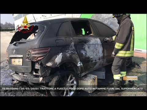 TG BASSANO | 20/03/2020 | TRATTORE A FUOCO E POCO DOPO AUTO IN FIAMME FUORI DAL SUPERMERCATO