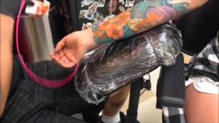 Tattoo Time Lapse - Ben Gun - Flower Sleeve Part 2 - Mantra Tattoo