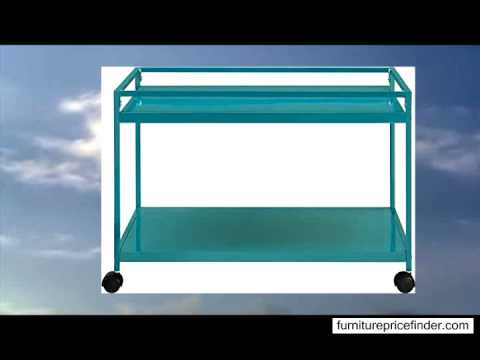Altra Furniture 2-Shelf Rolling Metal Utility Cart or Industrial Table Teal Finish