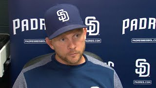 Padres manager Andy Green talks about the strategic move of taking Dinelson Lamet out early in the team's 9-7 loss to the...