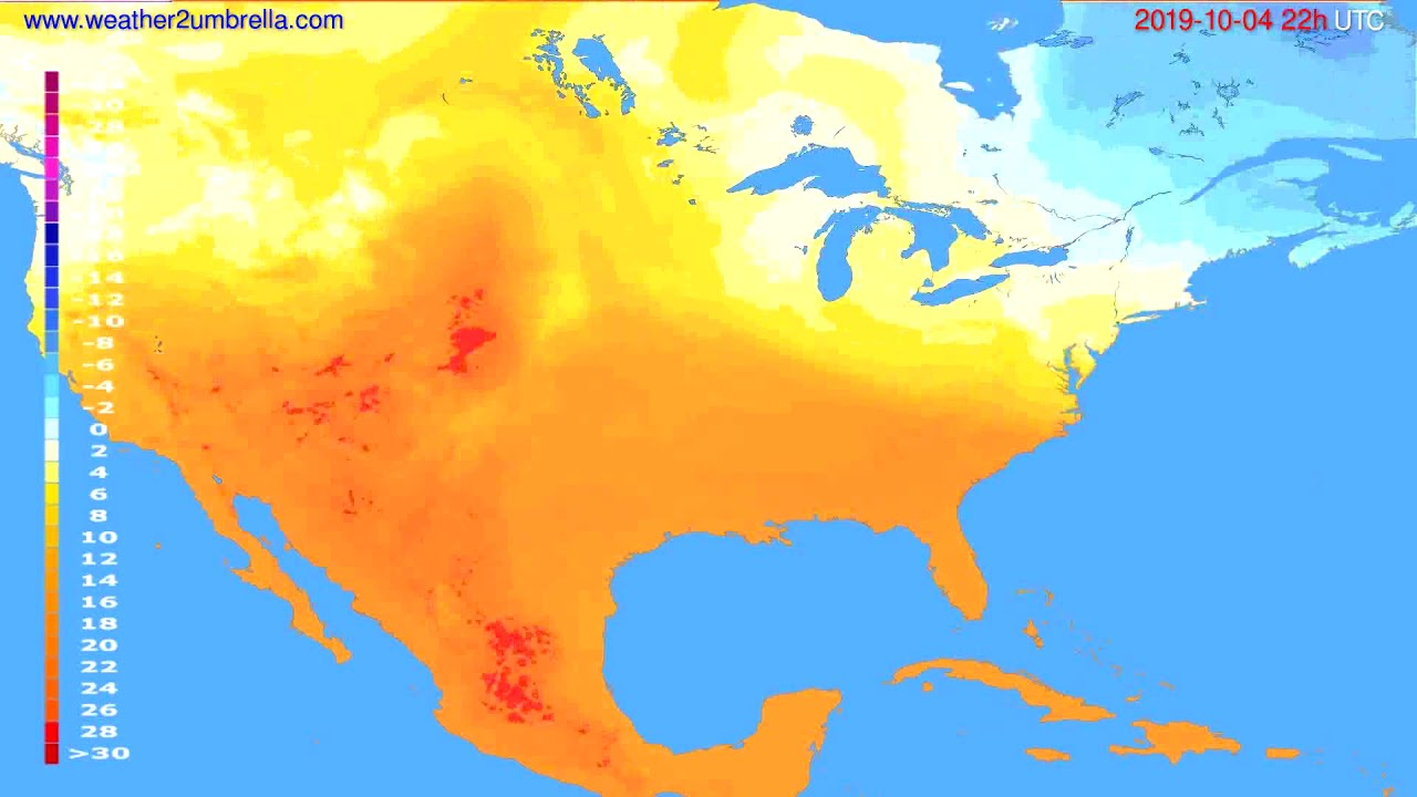 Temperature forecast USA & Canada // modelrun: 12h UTC 2019-10-02