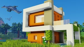 Minecraft: How to Build a Easy Modern House Tutorial - Futuristic House