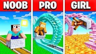 NOOB vs PRO vs GIRL FRIEND ROLLER COASTER MINECRAFT BUILD BATTLE! (Building Challenge)
