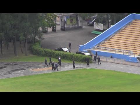 Уникальные кадры с приземлением и выходом Путина