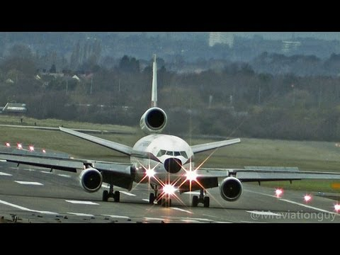 Biman Bangladesh DC-10 External View Takeoffs & Landings - Birmingham Airport with ATC