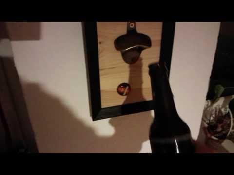 Wand Flaschenöffner Holz mit Magnet