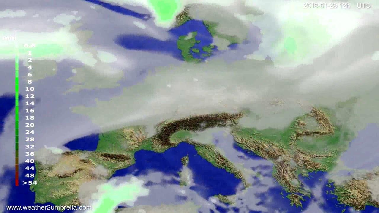 Precipitation forecast Europe 2018-01-24