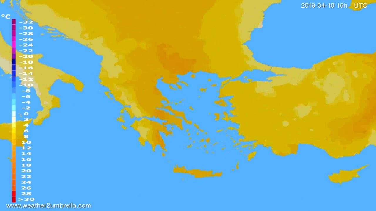 Temperature forecast Greece // modelrun: 00h UTC 2019-04-09