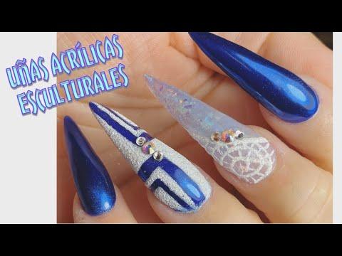 Uñas acrilicas - Uñas acrílicas esculturales pasó a pasó/ con azul metálico y blanco