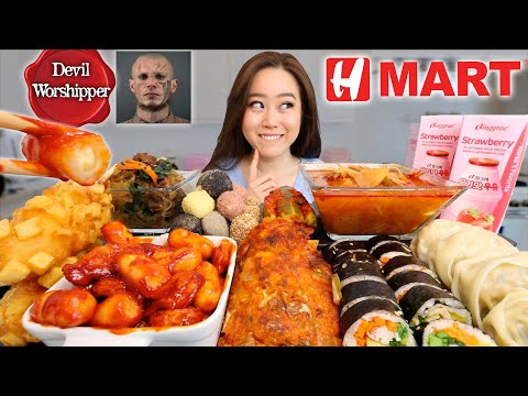 We Tried EVERYTHING from the KOREAN CONVENIENCE STORE (H-MART MUKBANG) … видео