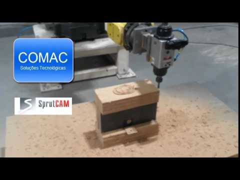 Double spindle woodworking milling programmed with SprutCAM Robot for KUKA robot