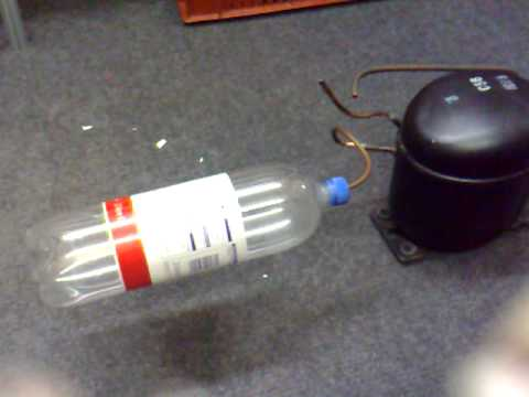 Ice cream freezer compressor blows up plastic bottle!
