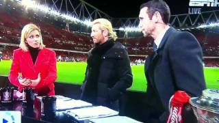 Martin keown gets hit in the head live Espn