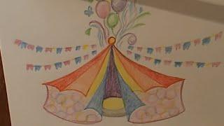 Как рисовать карандашом, цирк, для малышей, Colour pencil drawing, circus, for kids