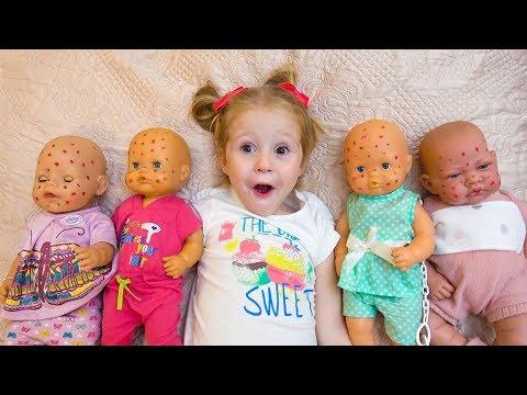 Куклы пупсики и Настя заботливая как мама Видео для детей - DomaVideo.Ru