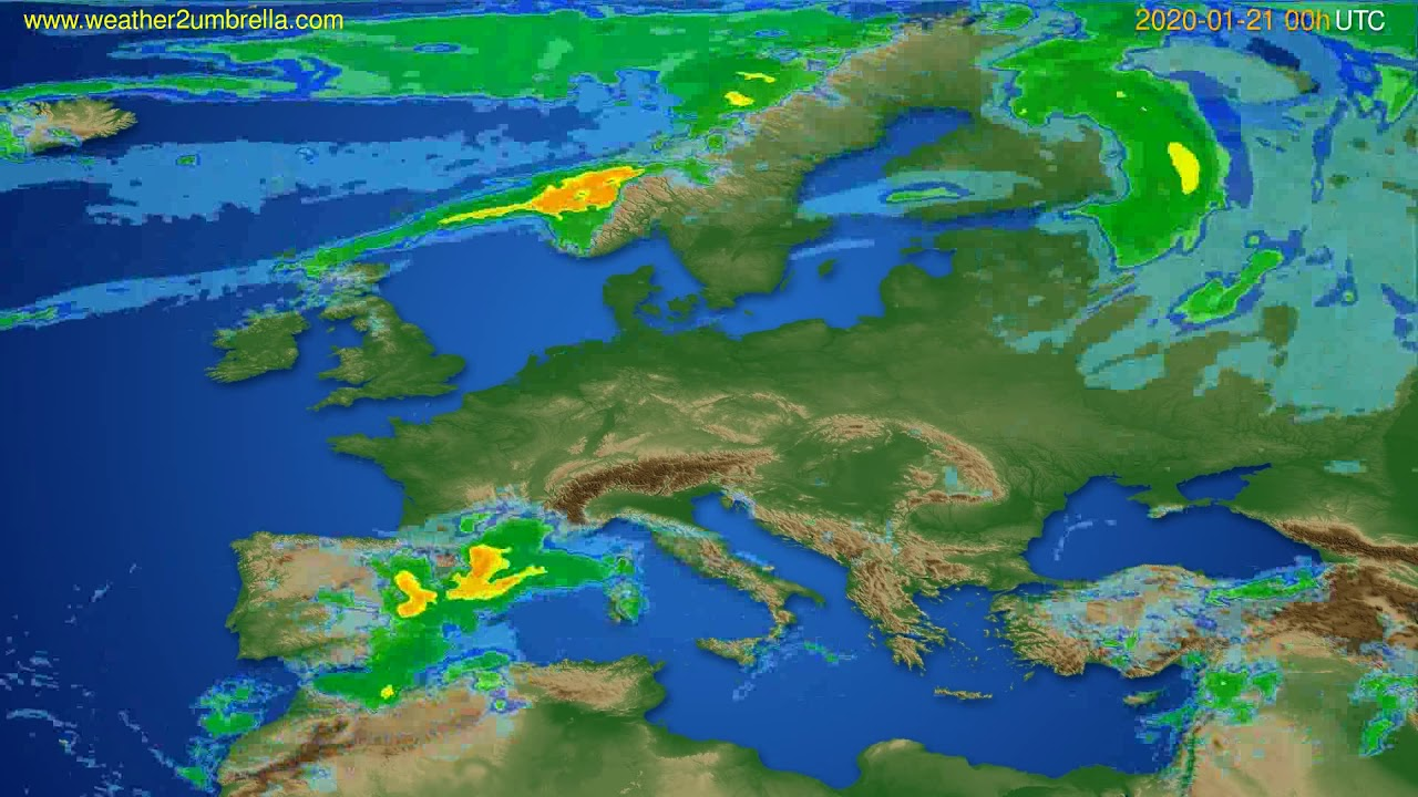 Radar forecast Europe // modelrun: 12h UTC 2020-01-20