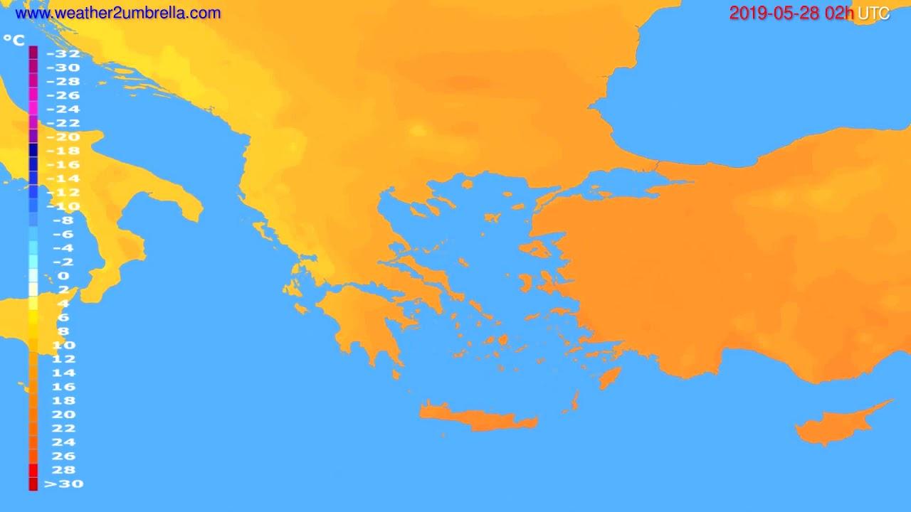 Temperature forecast Greece // modelrun: 12h UTC 2019-05-25