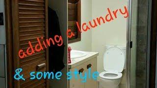 Bathroom renovation. Adding a laundry. DIY reno.