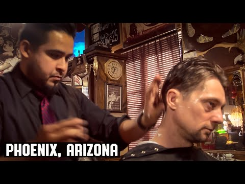 Haircut - HairCut Harry experiences a classic haircut at The House of Shave Barber Parlor in Phoenix, Arizona, where barber, Matthew Gallegos, makes you