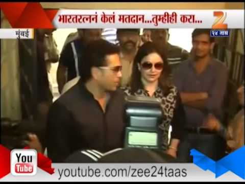 Sachin Tendulkar And His Wife Voting 24 April 2014 12 PM