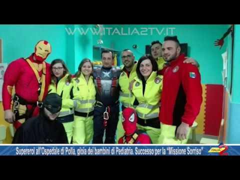 """Supereroi all'Ospedale di Polla, gioia dei bimbi di Pediatria per la """"Missione Sorriso"""""""