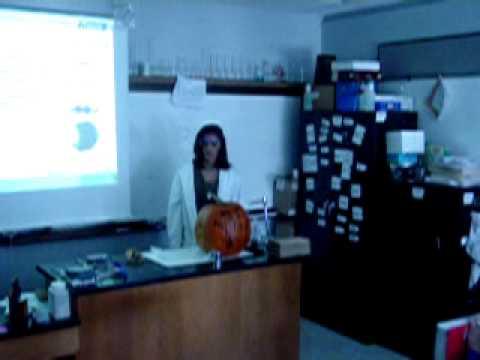 Taylor Horton blows up her pumpkin