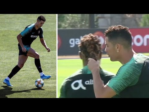 Cristiano Ronaldo training with Portugal team for match vs Serbia