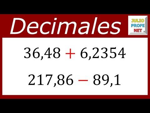 Suma y resta de números decimales