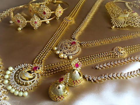 Latest 1 gram gold bridal set