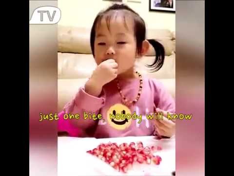 When this little girl is asked to wait for daddy to enjoy the pomegranate together.