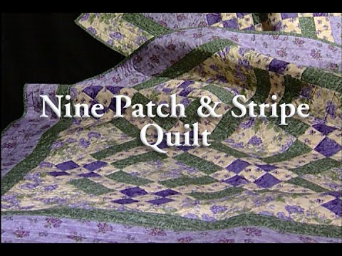 patchwork - nine patch e stripe quilt